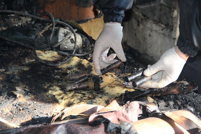 Остатки боеприпасов после взрыва